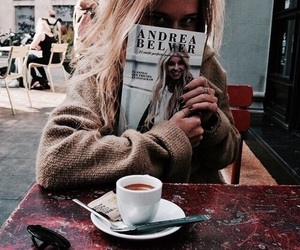 fashion, coffee, and magazine image