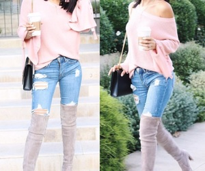 fashion, fall style, and pink outfit image