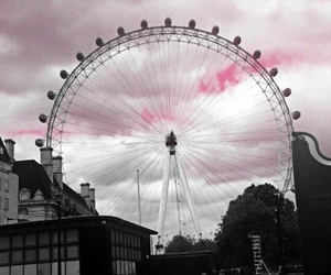 london, london eye, and pink sky image