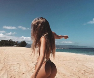 beach, bikinis, and ocean image