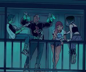 teen titans, raven, and starfire image