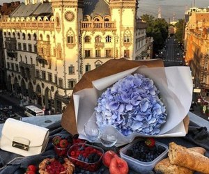 flowers, food, and love image