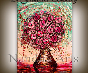 abstract, palette knife, and flowerspainting image