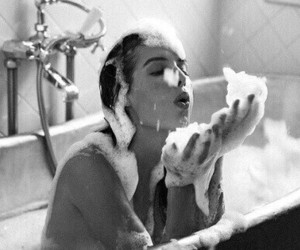 girl, black and white, and bath image