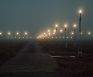 airport, fog, and night image
