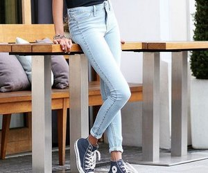 bracelets, jeans, and converse sneakers image
