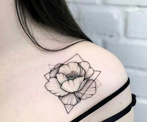 flower, flower tattoo, and shoulder tattoo image