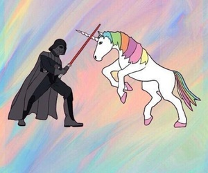 unicorn, pink, and star wars image