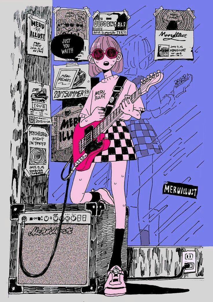 girl, drawing, and guitar image