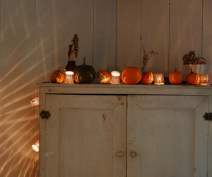 autumn, lights, and pumpkin image