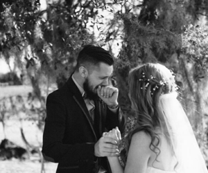 beautiful, bride, and white & black image