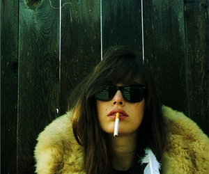 girl, cigarette, and feather image