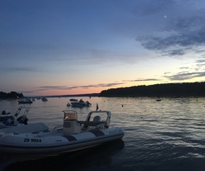 boat, sunset, and travel image