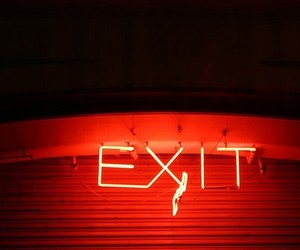 exit, red, and red glow image