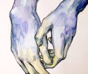 art, hands, and blue image