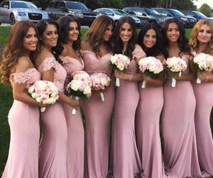 wedding, bridesmaids, and flowers image