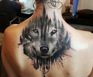 animal, tattoo, and wolf image
