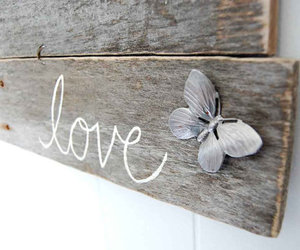 love, butterfly, and wood image