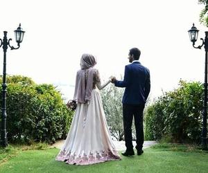 couple, dress, and hijab image