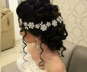 hairstyle, makeup, and wedding image
