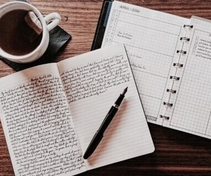 journal, tea, and coffee image
