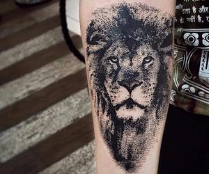 black, lion, and tattoo image