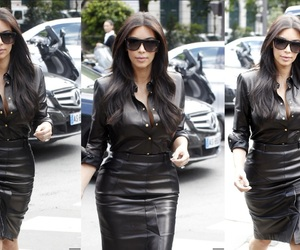 kim kardashian and leatherskirt image