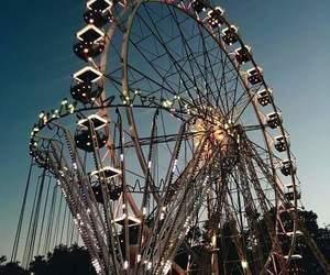 lights, ferris wheel, and night image