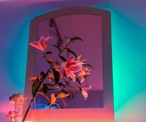neon, flowers, and aesthetic image