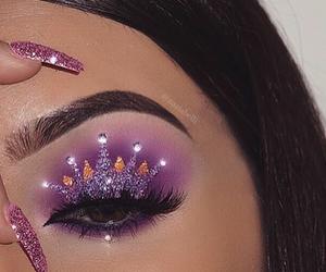makeup, crown, and purple image
