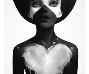 art, heart, and black and white image