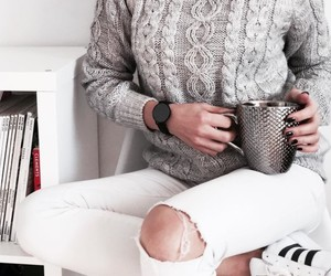 coffee, sweater, and cup image