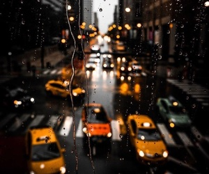 rain, city, and taxi image