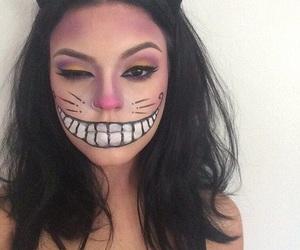 cat, halloween makeup, and girl image
