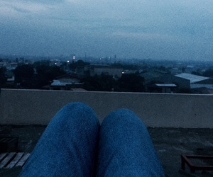 alone, moment, and rooftop image
