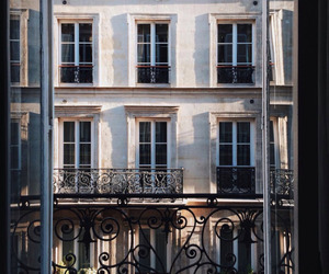 city, paris, and balcony image