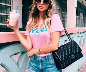 girl, pink, and starbucks image