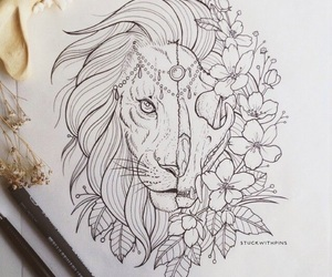 animal, flowers, and lion image