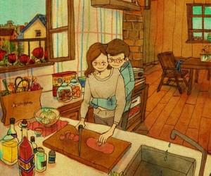 parejas, love, and cocinando image