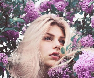 blonde, flowers, and girl image