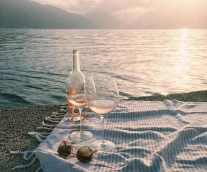wine, beach, and summer image