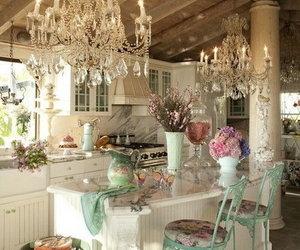 kitchen, vintage, and chandelier image