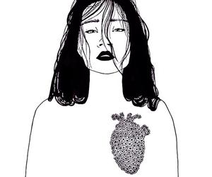 girl, heart, and art image