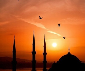 mosque and sunset image