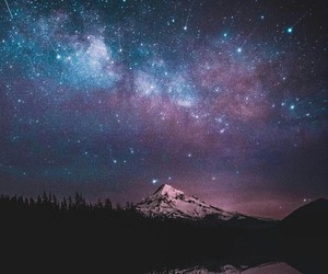 colors, mountain, and stars image
