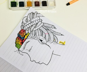 art, brain, and colors image