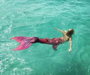 mermaid, ocean, and pink image