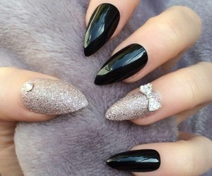 black nails, glitter, and makeup image
