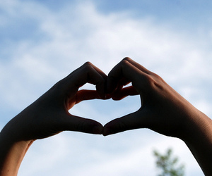 girls, heart, and sky image