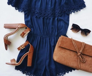 blue, leather, and outfit image